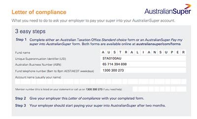 Australian Super Letter of Compliance